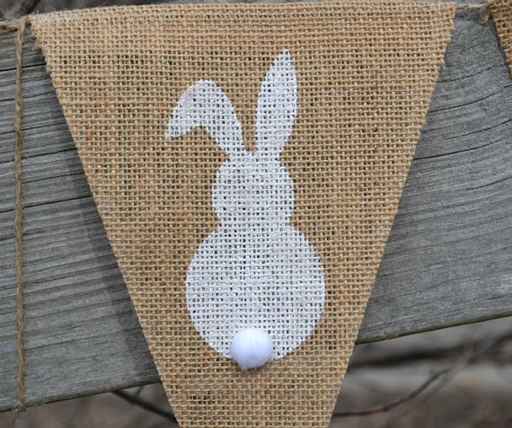 Bunny Banner  ..  Easter Banner  ..  Rabbit  ..  Easter Bunnies  ..  Burlap Banner on Etsy, $21.00