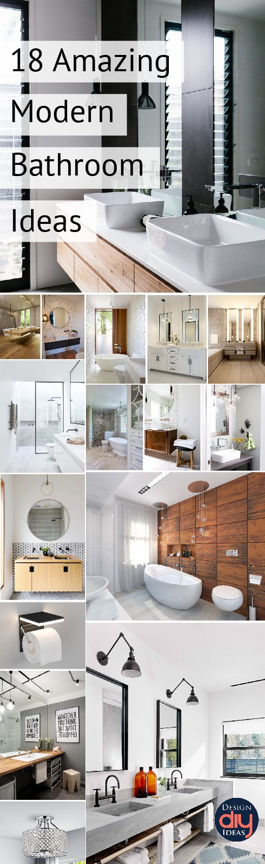 Need Modern bathroom decor ideas?  Look no further!  18 Amazing Modern bathroom ideas just for you.