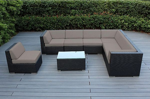 Best Jasmin 8 Piece Rattan Sectional Set With Cushions Frame 400 x 300