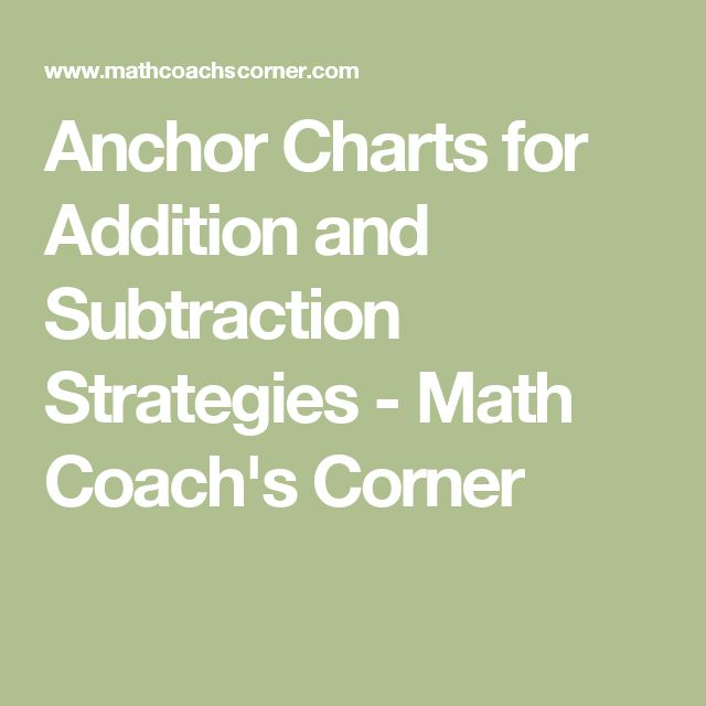 Anchor Charts for Addition and Subtraction Strategies - Math Coach's Corner