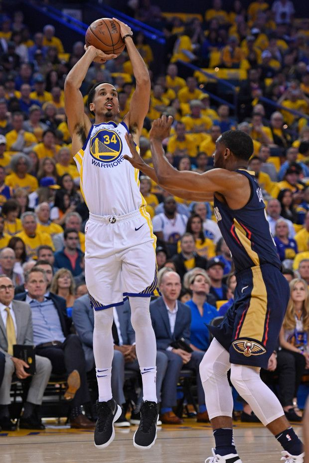 933560f21ed Golden State Warriors  Shaun Livingston (34) shoots over New Orleans  Pelicans  Ian Clark (2) during the second quarter of Game 1 of the NBA  Western ...