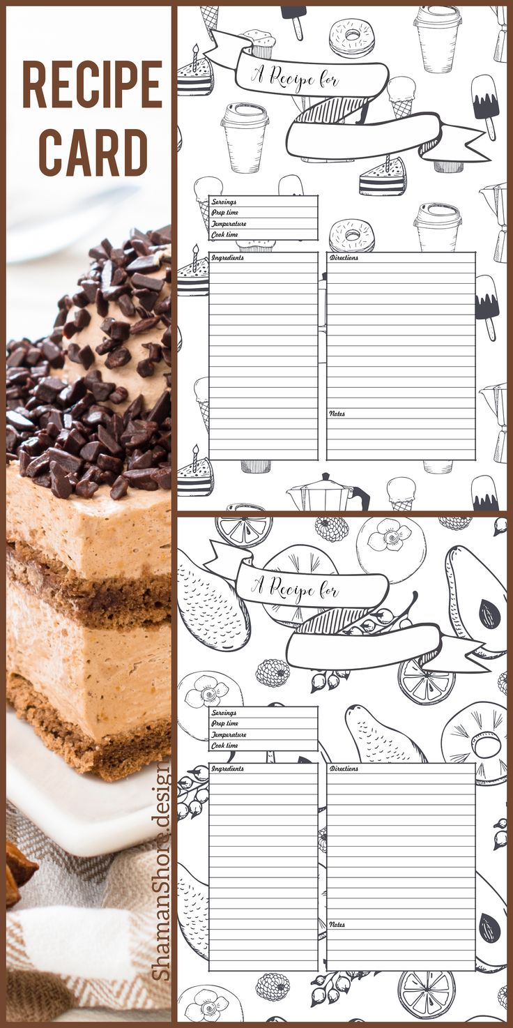 A4 Recipe Cards Template, Fun Recipe Templates 8 x 11, Printable Blank Recipe Pages for Binder, Recipe Sheets, Recipe Planner Printables, Recipe Template Digital Download Pdf, Recipe Inserts