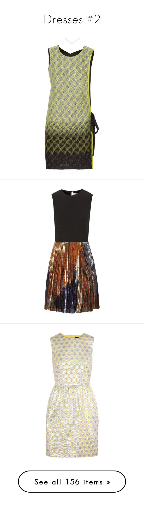 """""""Dresses #2"""" by klm62 ❤ liked on Polyvore featuring dresses, green, short colorful dresses, missoni dress, short metallic dress, metallic mini dress, metallic dress, black, multi colored dress and lame dress"""