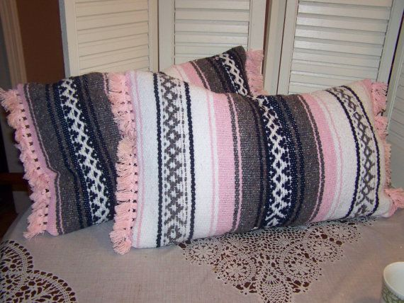 2 Mexican Saddle Blanket Pillows, Western style, gypsy cowgirl chic, pink fringe on Etsy, $23.79