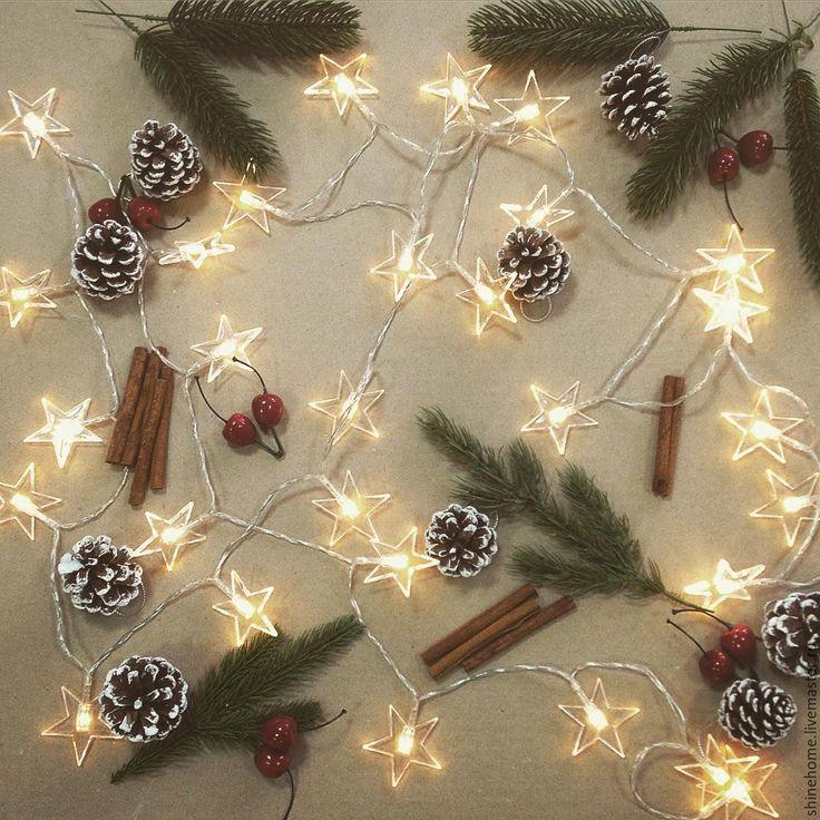 Купить Светодиодная гирлянда звезды - желтый, интерьер, Новый Год, новый год 2017, новогодний подарок