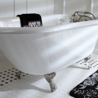Classic Roll Top Petite 54-inch Cast Iron Clawfoot Tub with Tub Wall Drilling - Overstock™ Shopping - Big Discounts on Claw Foot Tubs