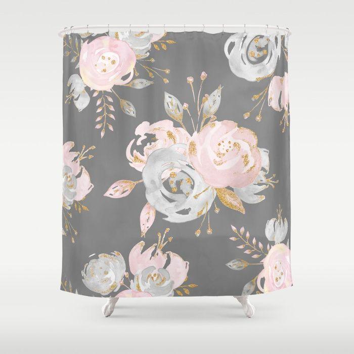 Night Rose Garden Gray Shower Curtain In 2019 Gray Shower