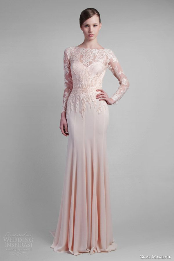 gemy maalouf couture spring 2014 long sleeve lace gown