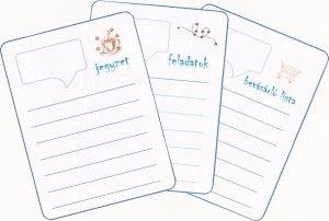 Kivágható jegyzetlap, feladatok, bevásárló lista