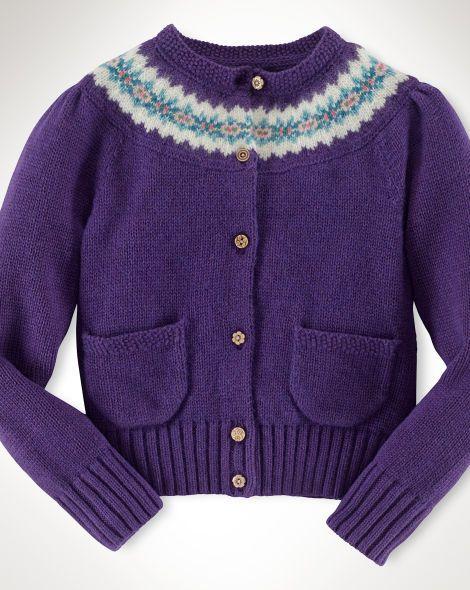 Preppy Fairisle Yoke Cardigan - Girls 2-6X Sweaters - RalphLauren.com