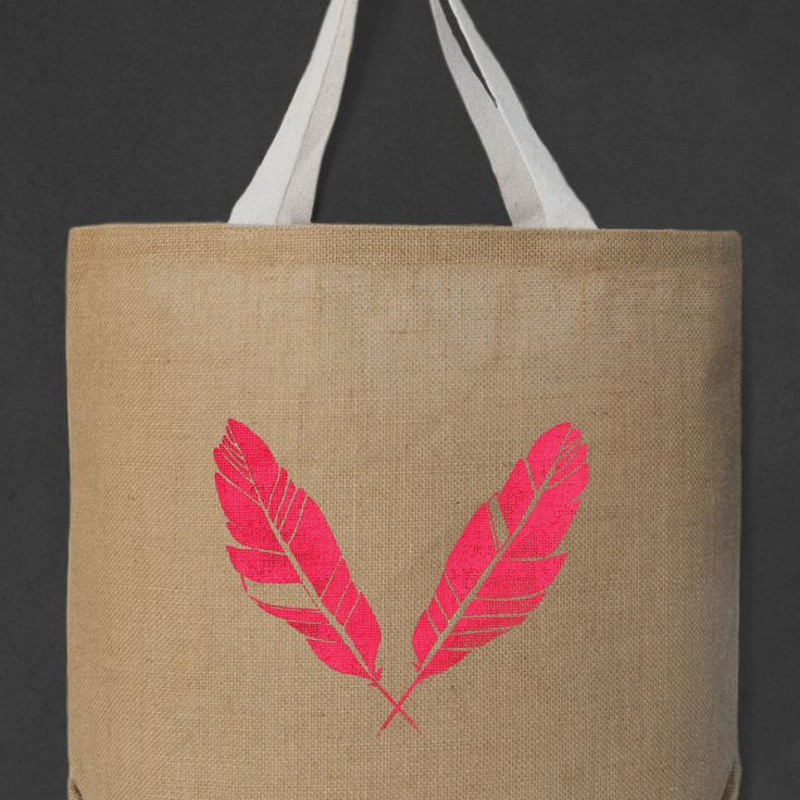 Fluro Neon Pink Feather Oversized Tote Bag - The Paperbird Society.