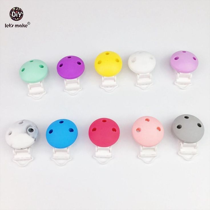 Let's Make 10pc Round Shape Pacifier Chain Clip, Pacifier Clip, Silicone Clip Selectable Silicone Teething Beads Suspender Clip
