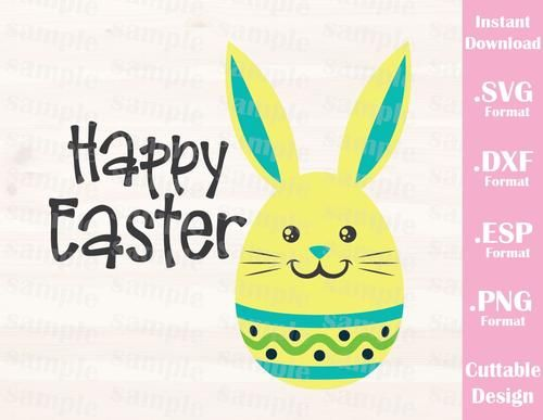 Easter Quote, Happy Easter, Bunny, Baby Kid, Cutting File in SVG, ESP, DXF and PNG Format for Cricut and Silhouette