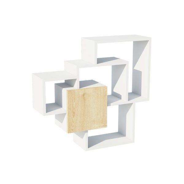 Ραφιέρα τοίχου Sweet λευκό-φυσικό 80x22x50