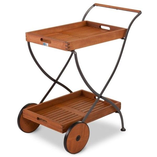 Southern Enterprises Brown Lucia Outdoor Serving Cart ($400) ❤ liked on Polyvore featuring home, kitchen & dining, brown, industrial bar cart, industrial cart, southern enterprises, wheeled cart and outdoor tea cart