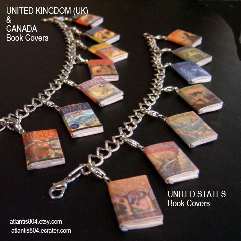 I love it that you can get the bracelet with the UK or the US covers for the Harry Potter books.