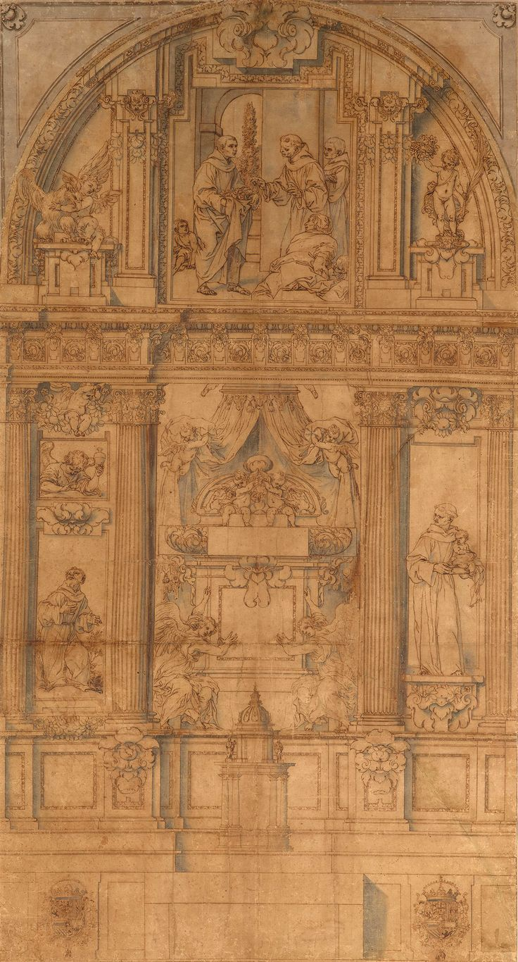 Alonso Cano | 1601-1667 | Design for the Decoration of a Franciscan Chapel Showing St. Diego of Alcala, St. Francis of Assisi, and St. Anthony of Padua | The Morgan Library & Museum