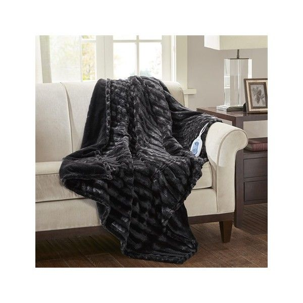 Beautyrest Heated Duke Faux Fur Heated Throw ($59) ❤ liked on Polyvore featuring home, bed & bath, bedding, blankets, black, heat blanket, beautyrest electric blanket, oversized throw, electric heat blanket and oversized throw blanket