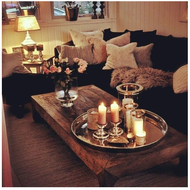 Cosy home- lighting ( candles and lamps) and plenty of pillows to snuggle ino.
