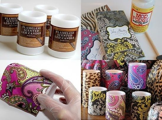 Dollar Store Candles - Wrap With Scrapbook Paper, New Candle!! So Many Ideas And Ways To Do This!!!