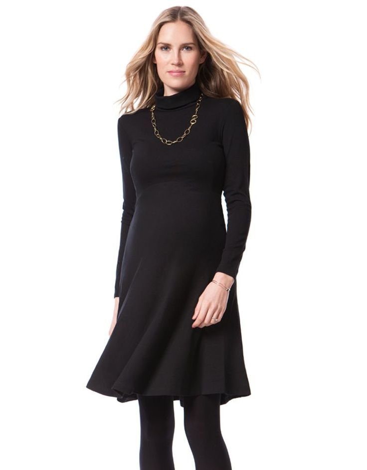Made in luxurious Ponte Roma Elegant turtleneck Long sleeves Curved empire waist   Worn by Kate Middleton, The Duchess of Cambridge on her first official visit to New York, the Vanessa maternity dress is an elegant style for before, during and after pregnancy. Made in a luxurious Ponte Roma fabric, the little black maternity dress drapes beautifully in a graceful A-line cut. The turtleneck style and full length sleeves make this the perfect layering piece for your sophisticated maternity…