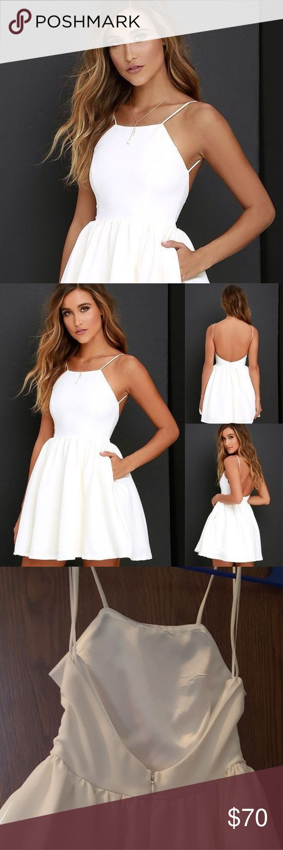 White Skater Dress White Lulus dress. Size SMALL.Worn once for graduation. NO STAINS. lulus Dresses