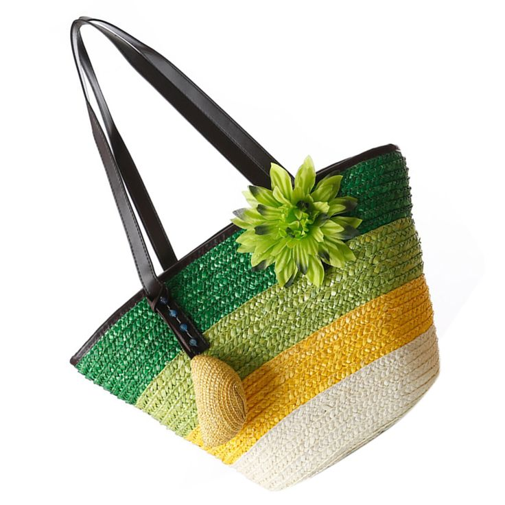 Hot Fashion Knitted Straw bag Summer flower Bohemian fashion women's handbags color stripes shoulder bags beach bag big tote bag #Affiliate