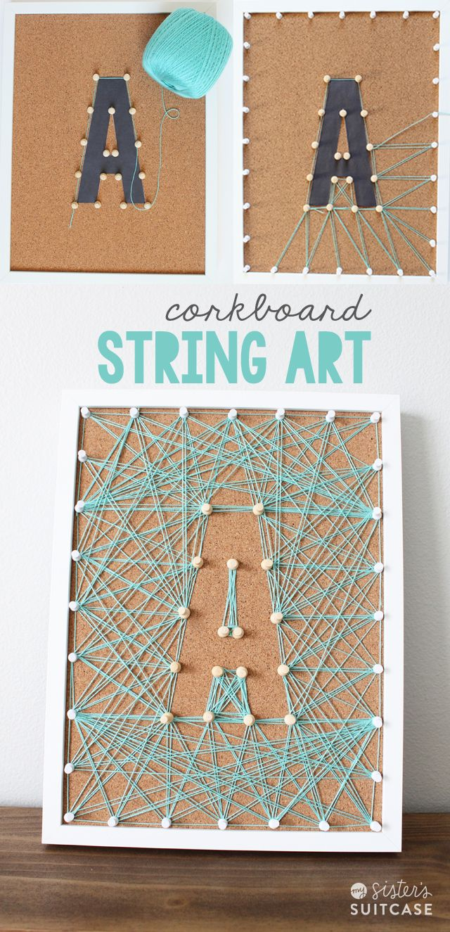 DIY Corkboard String Art! Such a fun and easy DIY project for your home. -- Tatertots and Jello