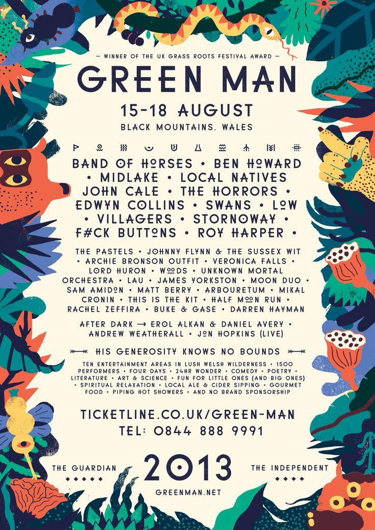 Green Man Festival by YCN Studio.  The overall branding created by YCN studio ties in a playful aesthetic that really suits the Grass roots theme. I also really like that YCN studio has created a font with quirky pictographs.