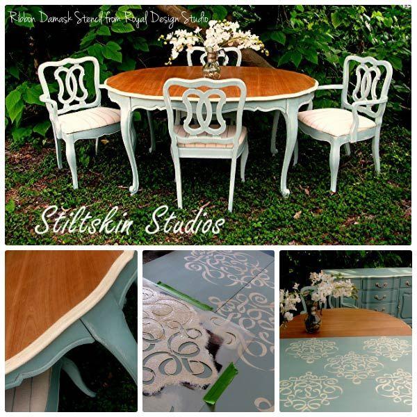 Furniture stencils chalk paint dining room table for Stenciled dining room table