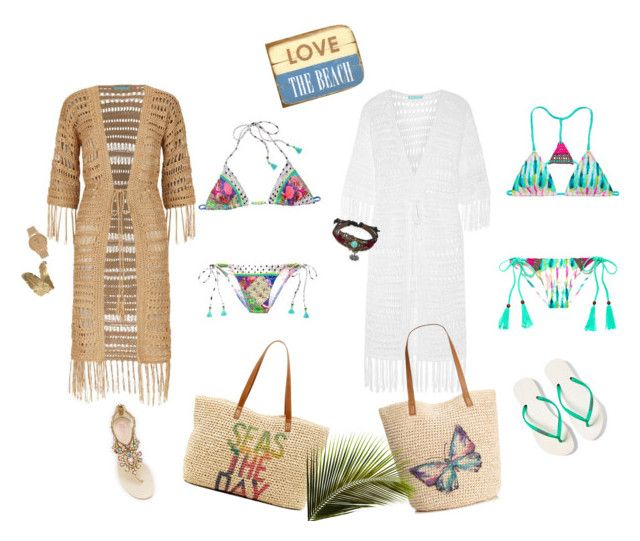 """At the beach.."" by ellenrob on Polyvore featuring Victoria's Secret, Melissa Odabash, Style & Co., René Caovilla, Havaianas, Straw Studios, Bling Jewelry and Shore Projects"