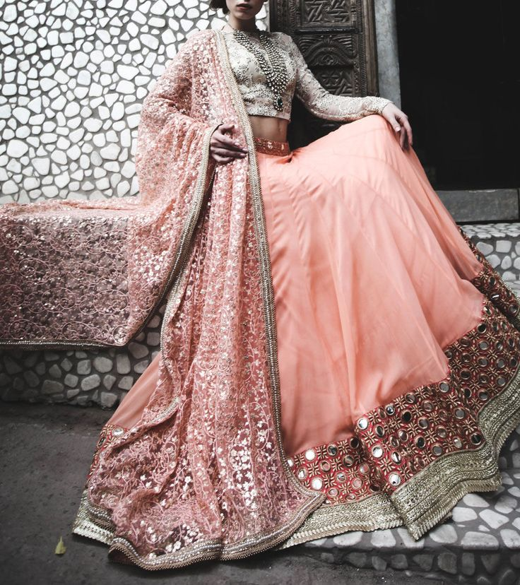 Peach Sequined Georgette #Lehanga With Threadwork On #Net #Dupatta Mirror Work On Border #Indianroots
