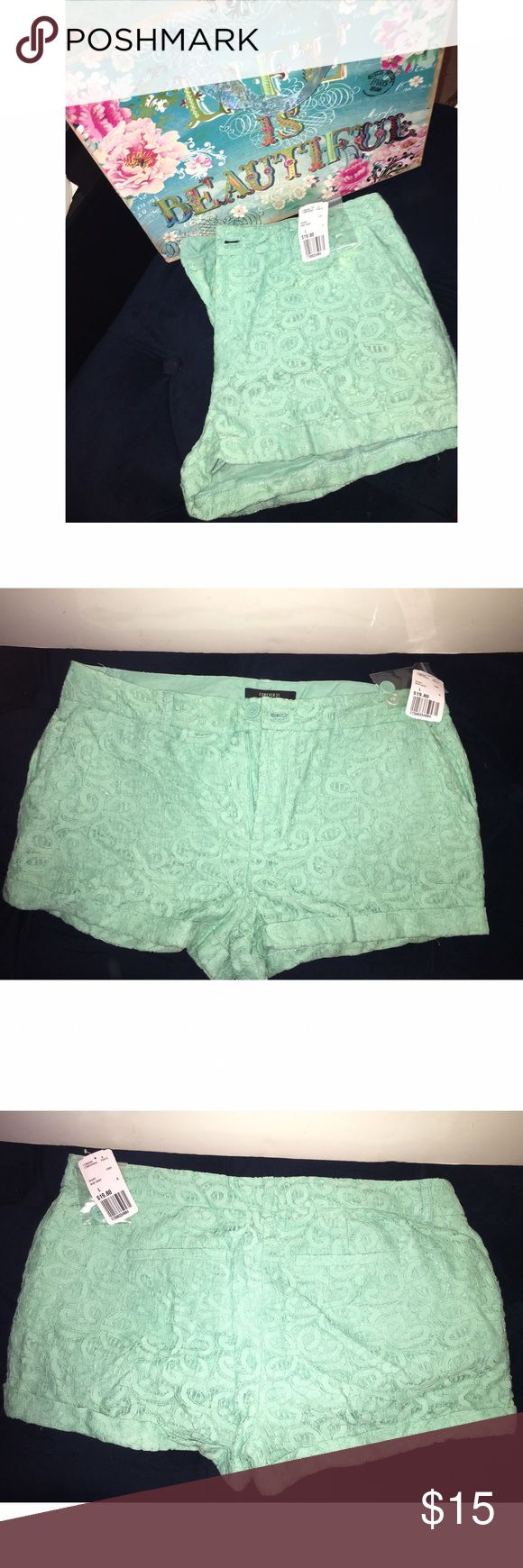 """Forever 21 Mint Shorts NWT Mint shorts with """"lace"""" look. Open to offers! Bundle Shorts & save 💸 Forever 21 Shorts"""