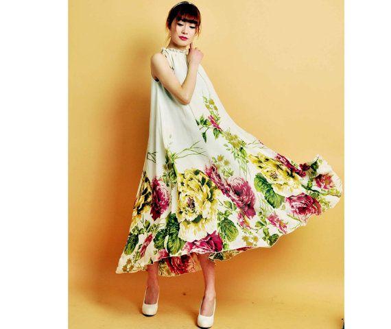 3 colors chiffon dress long dress with flower super hem dress. $89.99, via Etsy.