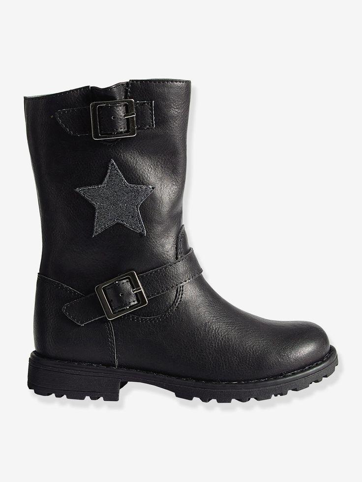 Botas de estilo motero, para niña negro - Un legendario look muy simpático el de estas botas de estilo motero, ¡ideales para combinarlas con un pantalón slim!         COMPOSICIÓN  Exterior: ma