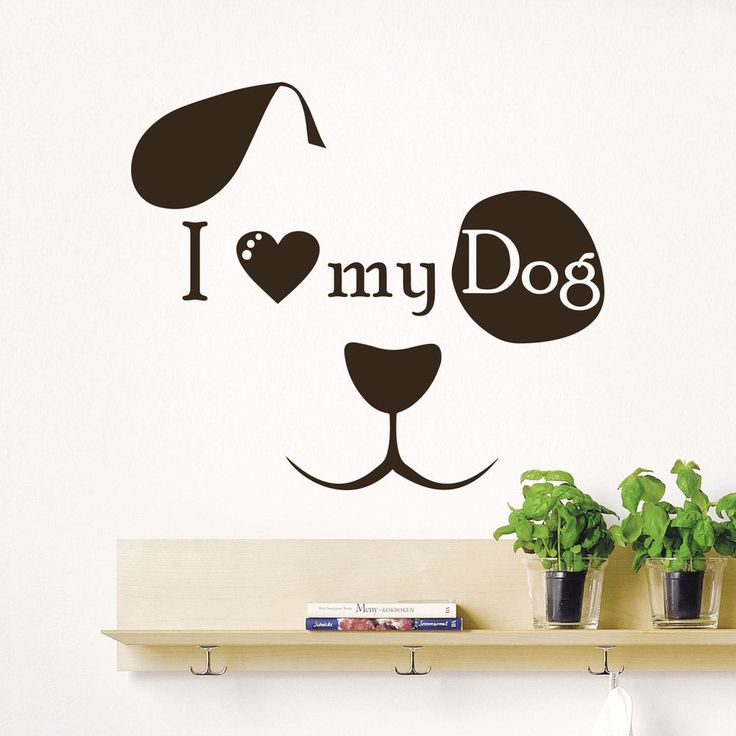 Wall Decal Quote I Love My Dog Face Art Kids Pet Shop Decor Sticker Murals  AM114