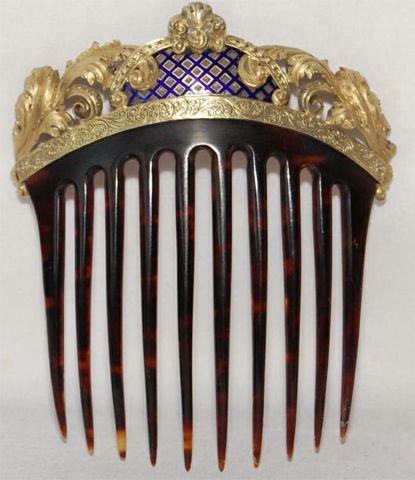 Gilt bronze and blue enameled back comb, c. 1860. From the French Empire's Eugenie period.