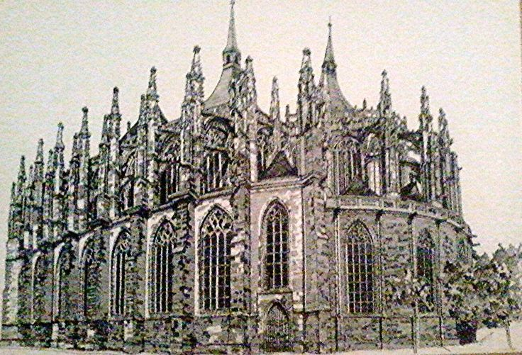 St. Barbara Church in Kutnahora- Czech Republic Medium: Black Rotring Ink Pen Size: A3 Available!