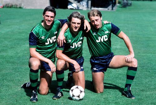 Arsenal's away kit from the 82/83 campaign. Sponsored by JVC