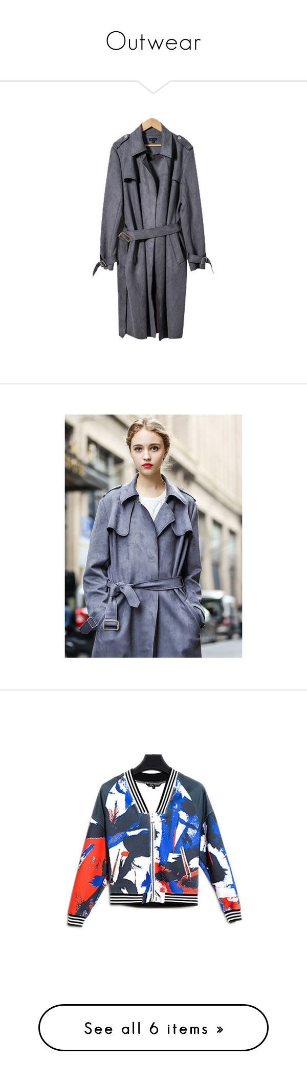 """""""Outwear"""" by stargazerfashion on Polyvore featuring outerwear, coats, grey trench coat, faux suede coat, belted trench coat, grey oversized coat, belted coat, cropped trench coat, gray coat and trench coat"""