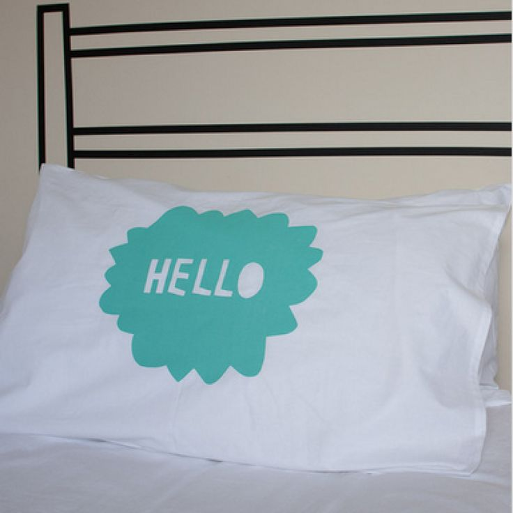 Henry and Co Mint 'Hello' Pillowcase