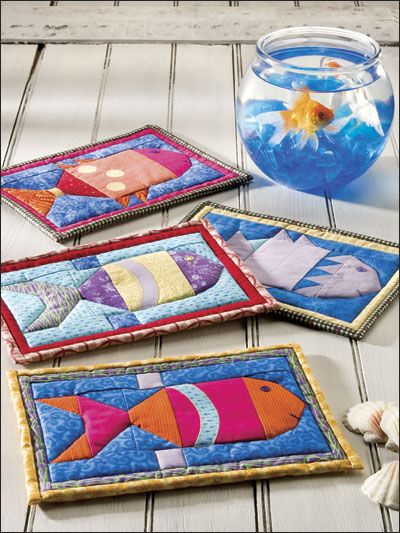 ~ A Little Fishy I know the pattern is for potholders but I think they would make perfect mug rugs!!!