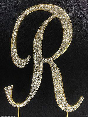 Gold Letter Initial R Birthday Crystal Rhinestone Cake Topper R Party Monogram