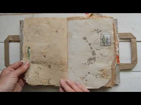 "binding w fabric strips -  Vintage style nature themed junk journal ""A fox in the forest"" - YouTube"