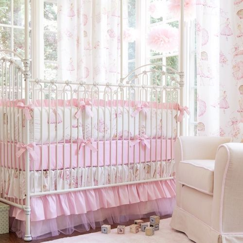 Royal Ballet Crib Bedding | Pink and Ivory Ballerina Baby Girl Crib Collection | Carousel Designs