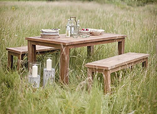 Solid Teak Garden Table and Bench Set : garden table and bench set - pezcame.com