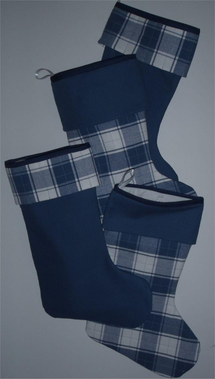 201643 - Christmas stocking - Blue plaid fabric, quilted cuff A-Plain cuff B-Plaid cuff