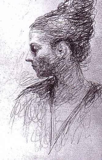 """Dette er en tegning fra Pablo Picasso sin skissebok. Ved å """"rable"""" beskriver han både formen, skygger, og hårets kvaliteter, og legger inn noen enkle linjer for nese, utringing osv. Håret til jenta er i seg selv et fint eksempel på formskisse."""