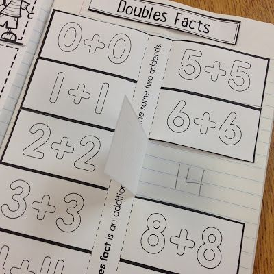 Doubles facts interactive notebooking