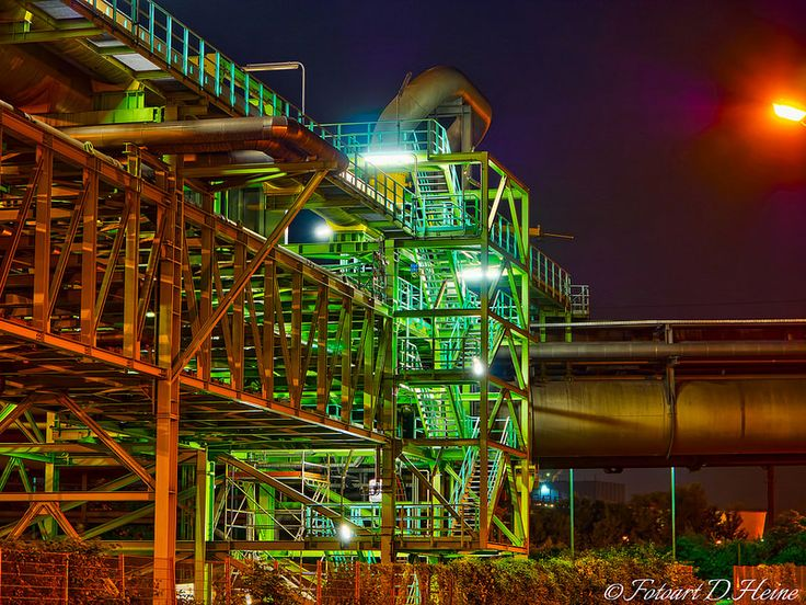 This is a closeup-picture of a staircase in the industrial park Duisburg Marxloh. It shows a colorful illuminated and quite impressing construction made of steel. The picture was created using HDR-technology.